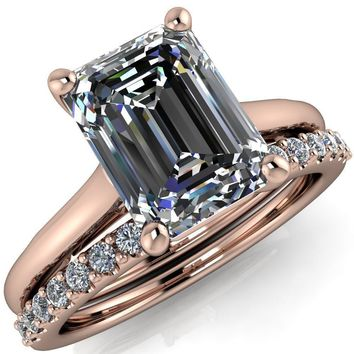 Willie Emerald Moissanite Bow Under Cathedral Engagement Ring