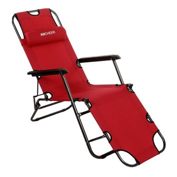 Homdox Outdoor Furniture Longer Leisure Folding Beach Chair Stool Sling Recliner Camping Chairs Bed