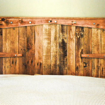 Rustic Headboard/Reclaimed Wood with Galvanized Hardware