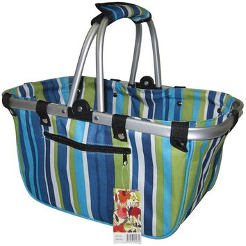 "JanetBasket Large Aluminum Frame Basket-18""X10""X9.5"" Blue Stripes"