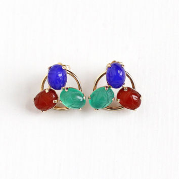Vintage 12k Rosy Yellow Gold Filled Pierced Scarab Earrings - Retro 1960s Carved Red Blue & Green Gems Carnelian Egyptian Revival Jewelry