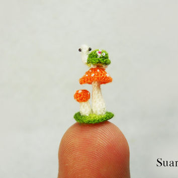 Micro Green Turtle Orange Mushroom - Tiny Crochet Plush Miniature Tortoise - Made To Order