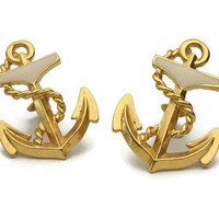 "Avon 1990 ""Anchors Aweigh"" Gold Tone Anchor Clip On Earrings - Large Nautical Vintage Avon 90s"