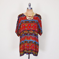 Vintage 90s 70s India Top India Shirt India Blouse India Tunic Red Paisley Print Gauze Blouse Slouchy Oversize Top Hippie Top Boho Top S M L