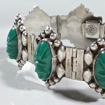 Vintage Mexico Silver Green Onyx Chalcedony Hand Carved Masks of Ancient Culture Mid Century Bracelet Panel Style Outstanding Bracelet!