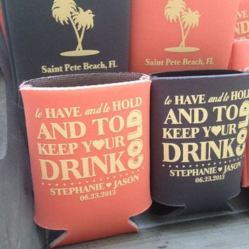 Custom Wedding Koozies - FREE SHIPPING- Wedding Favor Koozie- Beer Coozies- Personalized