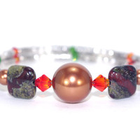 Copper brown Swarovski crystal pearl bead memory wire bracelet, Orange green crystal, Red creek jasper stone, Silver plated wrap coil bangle