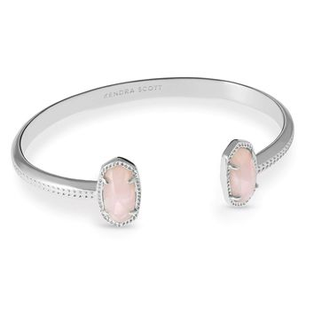 Kendra Scott: Elton Silver Pinch Bracelet In Rose Quartz