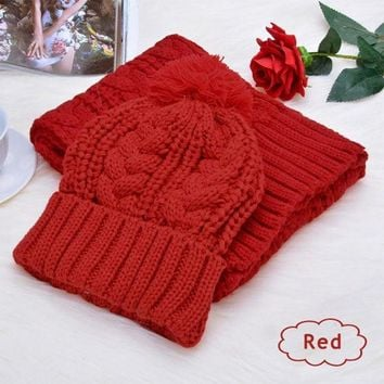 CREYU3C Fashion Womens Knit Handmade Hat and Scarf Winter Set Knitting Skullcaps Collars -Y107