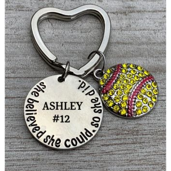 Personalized Engraved Softball Keychain - She Believed She Could So She Did