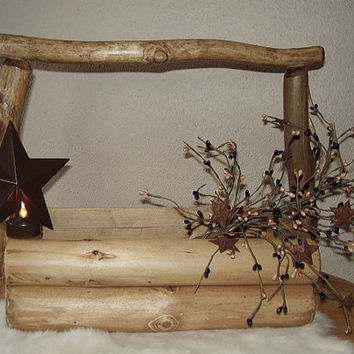 Rustic Log Basket by RUSTICNORTHERN on Etsy