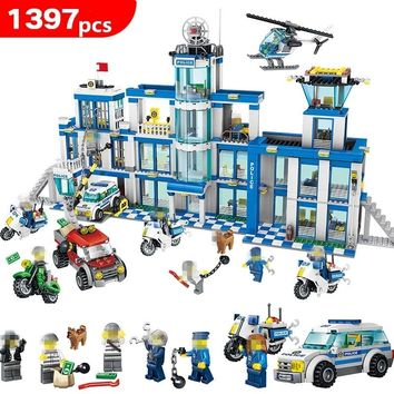 1397pcs Anti-Terrorism Action Models Building Blocks City Police Station Series Set Compatible LegoING Children Toys kids gifts