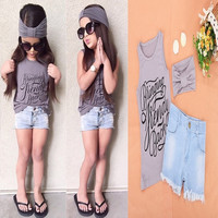 Lovely Cute Baby Girls Casual Sleeveless Print Tank Tops and Denim Shorts Headband 3PCS Slim Outfit Sets Kids Wear = 1930196292