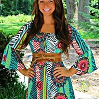 Crazy For Love Tunic Dress Jade