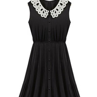 Black Sleeveless Sheath Pleated Chiffon A-line Mini Dress