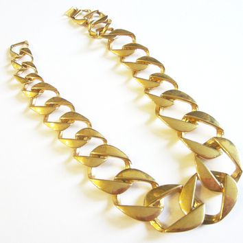 Modern Link Collar Necklace Marked PEP Gold Plated Choker