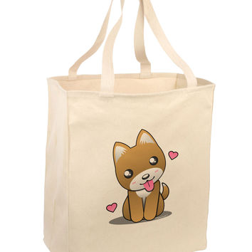 Kawaii Puppy Large Grocery Tote Bag