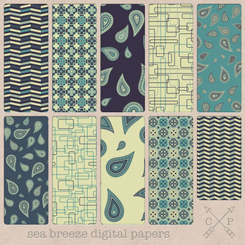 SALE sea blue, dark blue, off-white and teal paisley digital papers. Great for blog or web backgrounds, paper crafts, scrapbooking and more