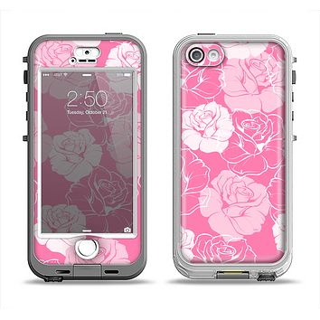 The Subtle Pinks Rose Pattern V3 Apple iPhone 5-5s LifeProof Nuud Case Skin Set
