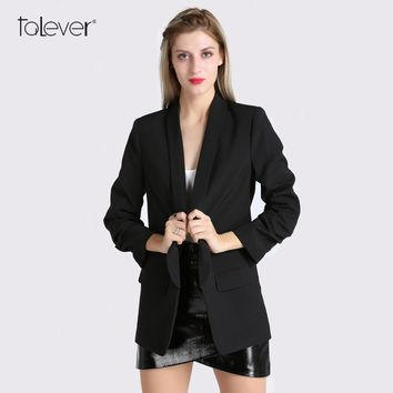Spring Women Blazer Jacket Fashion One Button Shawl-Collar Blazer Suit Female Casual Fixed Ruched Design Ladies Coat Talever