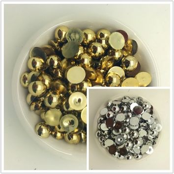 3-10mm Gold /silver Half Round Pearl Bead Flat Back Scrapbook for Craft Gilded