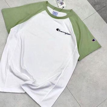 Gotopfashion Champion Colorful Sleeve & White Fresh Color Women Men Tee Shirt Top B-AA-XDD Green