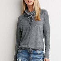 Drawstring Funnel Neck Top