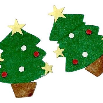 Green felted Christmas tree w/ ornaments padded appliqués