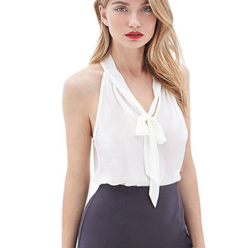 See Through Front Tie Up Bowknot Sleeveless Sheer Sexy Summer Casual Blouse