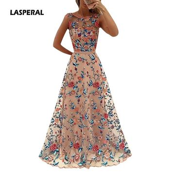 LASPERAL 2017 Floral Embroidery Long Maxi Dress Party Dress Bride Banquet Elegant Floor-length Party Prom Vestidos Formal Dress