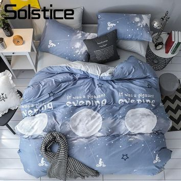 Cool Solstice Home Textile Moon Light Blue Duvet Cover Pillowcase Bed Sheet Kid Teen Linen King Queen Boy Girl Bedclothes Bedding SetAT_93_12