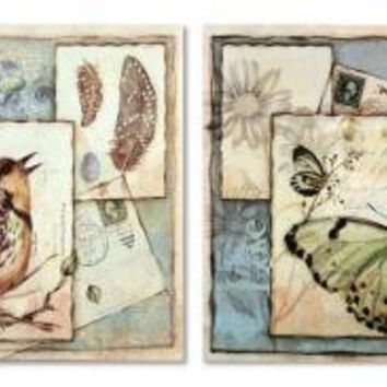 8 Wall Canvases - Bird And Butterfly