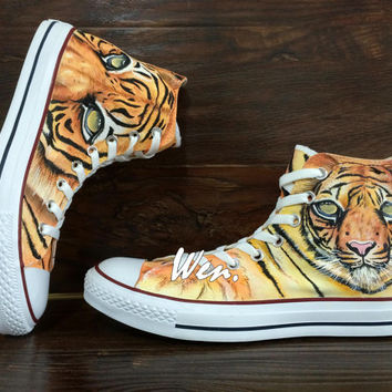 WEN Original Design UAE Dubai Tiger Converse Custom Hand Painted Shoes,Custom Painted Converse Converse All Star Unique Birthday Gifts