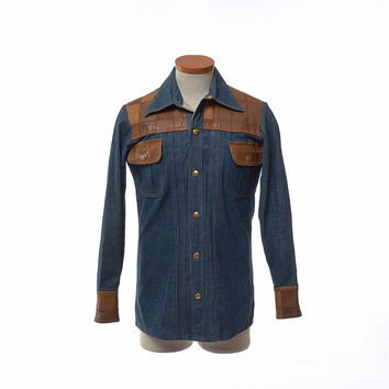 Vintage 70s Patchwork Leather and Denim Shirt 1970s Dr. Denim Mr. Hide Blue Jean Rocker Hippie  Boho Rockabilly Mens Jacket / Small