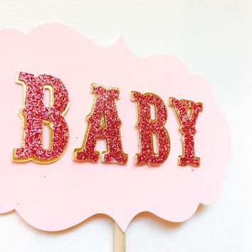 Cake Topper, baby shower cake topper, princess party cake topper, birthday cake topper, pnik and gold baby shower