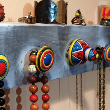 Wall Hanging necklace holder / necklace hanger / reclaimed wood hand-painted in a colorful theme & 5 hand-painted knobs