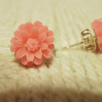 Pink colored flower cabochon earrings
