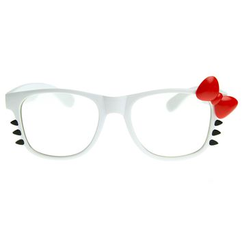 Womens Retro Fashion Kitty Clear Lens Glasses w/ Bow and Whiskers