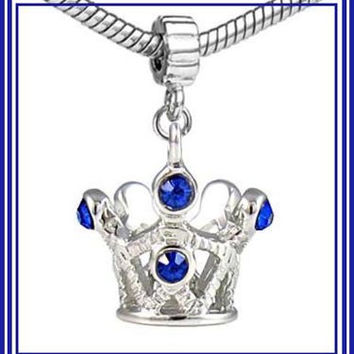 Adorable - PRINCESS CRoWN -TiARA - Special Little GiRL - DaNGLE Charm Bead - SAPPHiRE BLuE Rhinestones - fits EUROPEAN Bracelets - MD-2719-B