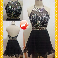 2015 Sexy Black Crystals Short Prom Dresses Blingbling Beads Cocktail Dresses Party Homecoming Dress Gowns For Girls