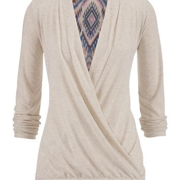 Ethnic Printed Back Wrap Front Pullover - Multi