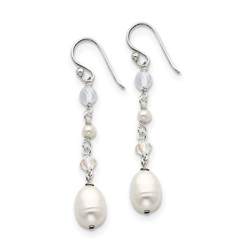 Sterling Silver White FW Cultured Pearl/Opalite Crystal/Crystal Dangle Ear QE2062