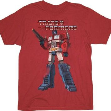 Transformers Distressed Optimus Prime Washed Red Adult T-shirt  - TV Show and Movie T-shirts - | TV Store Online
