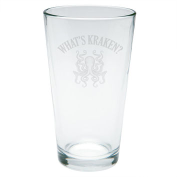 What's Kraken Octopus Squid Etched Pint Glass