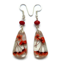 Real flower jewelry.Red flowers in resin earrings.  Unique gift for her. Red beaded dangle earrings. Christmas earrings.