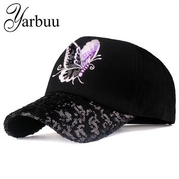 [YARBUU]Brand baseball caps 2017 new fashion Butterfly Embroidery Peaked cap for women young lady Sequins summer sun hat cap