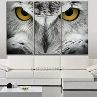 Large Wall Art 3 Panel Great Horned Owl Canvas Print   Captive Bird Eye Canvas Painting   Triptych Canvas Print   Yellow Eye Wall Art - MC25