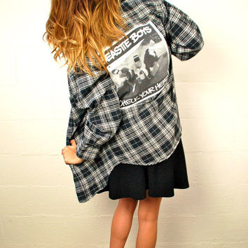 Grunge Flannel Shirt Beastie Boys Flannel Upcycled Mens Womens Flannel Hipster Black and White Tee Shirt Patch Tumblr Pinterest Fashion