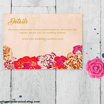 DIY Wedding Template Details Enclosure Card Accommodation Card  Printable Editable PDF, Instant Download, Elegant Painted Floral, #1CM79-1