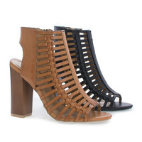 Embark33M Open Toe Caged Mule Faux Wooden Block Heel Sandal